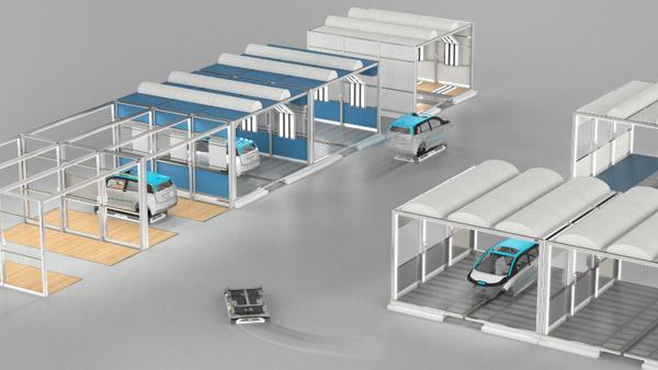 使用 EcoProFleet,车身可以独立运行,并在涂装车间的各工作站之间以平行的方式运行。